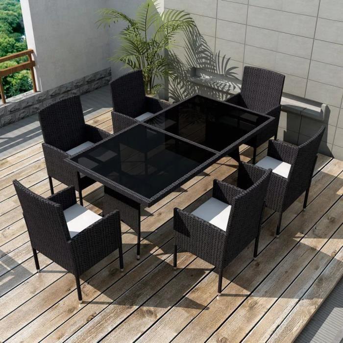 8 pcs Jeu de mobilier de jardin Ensemble table chaise faute de jardin Noir  Résine tressée