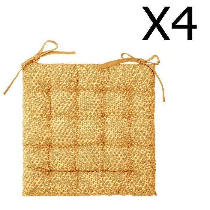 38 x 38 cm PEGANE Lot de 4 galettes de Chaise Rondes en Coton Coloris Terracotta