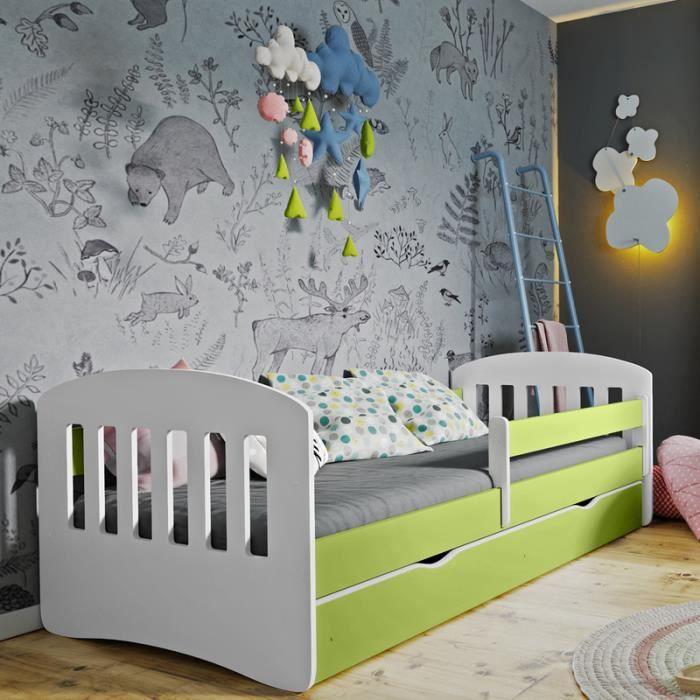 pour enfants garçons filles lit avec matelas 140x70cm oreiller VOITURE DE COURSE LIT vert