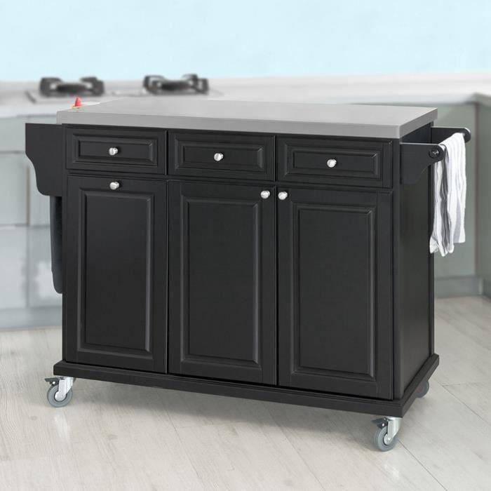 Meuble chariot de rangement desserte de cuisine sur roulettes avec plateau en acier inoxydable