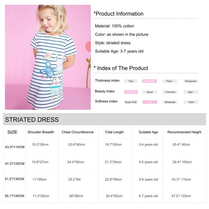 Okidso Lovely Kid Girls T-shirt Dress Summer Robe courte à manches courtes Striated Dress with Carton Patterns, Pure Cotton (120cm)