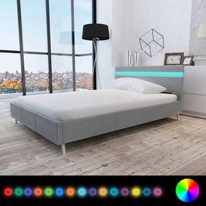 STRUCTURE DE LIT Lit avec LED 140x200cm Tissu Gris clair