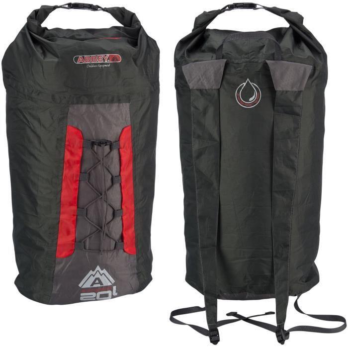 ABBEY Sac à dos compact pliable - 100% polyester indéchirable - Capacité du sac : 20 L - Poids : 90 g - Rouge