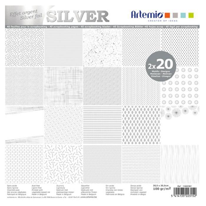 Set de papiers - Foil - Argent - 40 pcs