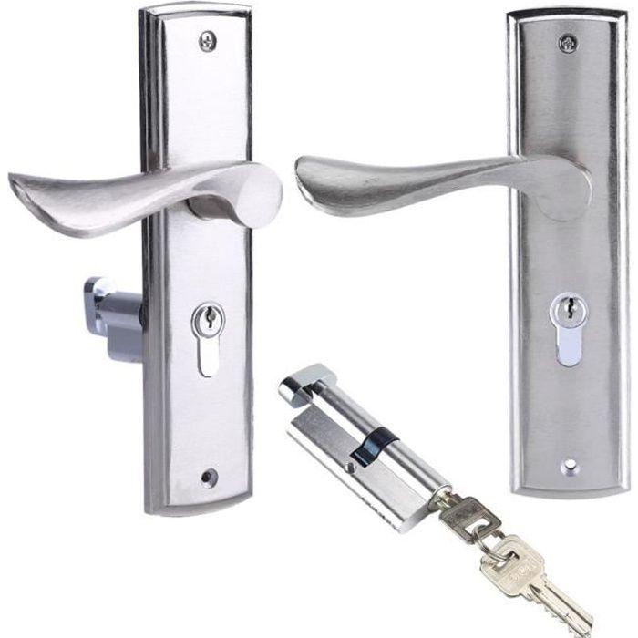 Sécurité à la maison bloque porte durable bloque poignee de serrure de levier de cylindre serrure de poignée de porte des clés -OHL