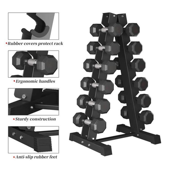 Six paires de rack de stockage d'haltères-54X41X106CM
