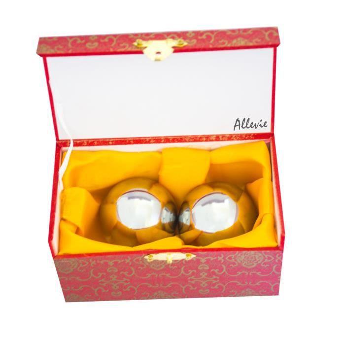 Boules de Baoding Ball de Santé Qi Gong Exercice Massage Stress Relaxer Doigts Solide Lourde sans Carillon Fer Couleur Chrome 4,8cm