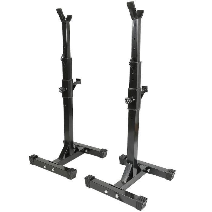 Repose Barre Musculation Support De Haltère Rack A Squat Réglable En Hauteur105-160cm