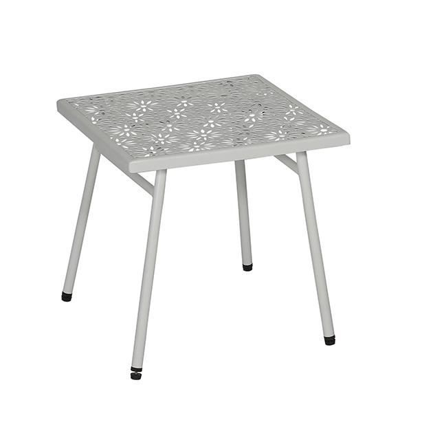TABLE BASSE BLANCHE CARREE EN METAL 40X40X37 CM MATERA