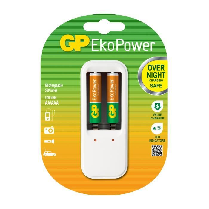 CHARGEUR GP PB410 - Chargeur Ultra Compact - Charge 1 ou 2 AA/AAA - livré avec 2 accus AAA 650 mAh EkoPower