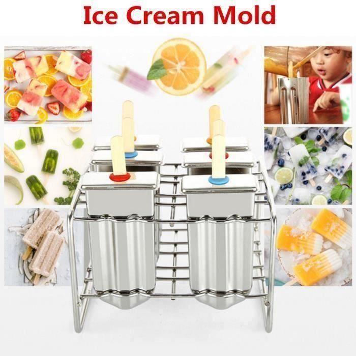 NEUFU 6 Treillis Inox Moule à Crème Glacée Sorbet Popsicle Glaçon Glace Ice Cream
