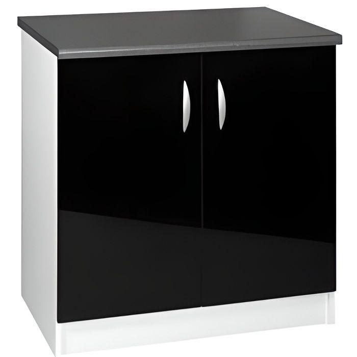 Meuble cuisine bas 80 cm 2 portes OXANE noir