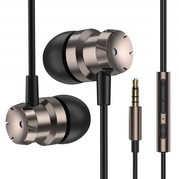 Écouteurs Intra Auriculaires, Écouteurs avec Micro et Télécommande Oreillettes Filaires Isolants du Bruit pour Samsung, Téléphones A