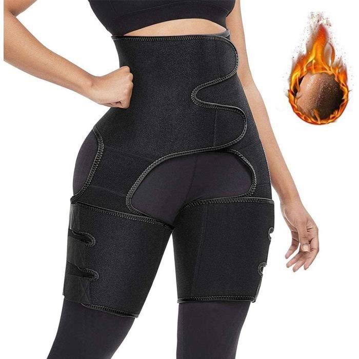 S/M Ceinture de taille haute Ceinture anti-transpiration Réglable Auto-échauffant Ceinture de ventre de corset de yoga femmes Noir