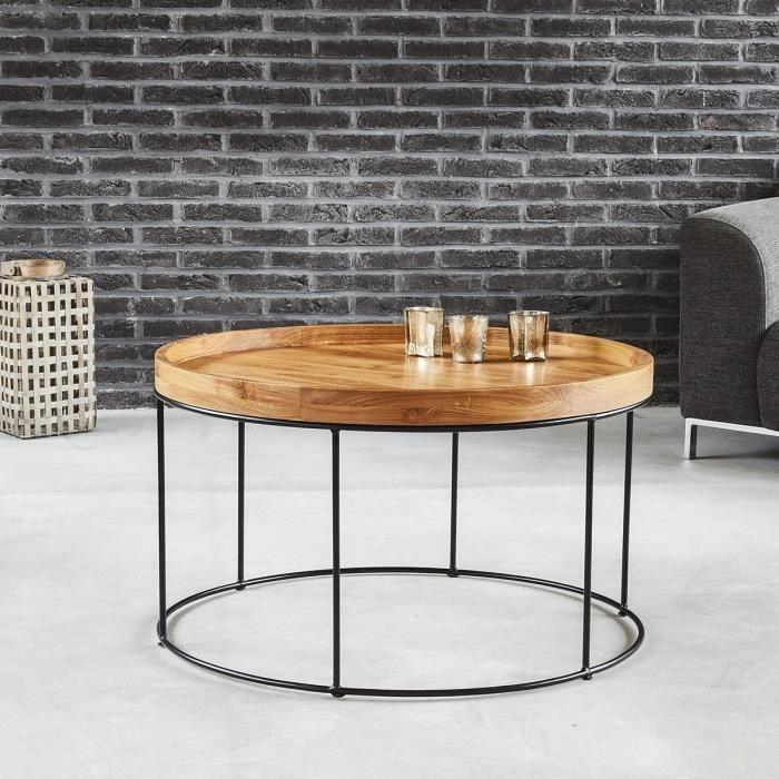 Table basse ronde en bois de teck et métal BDBD