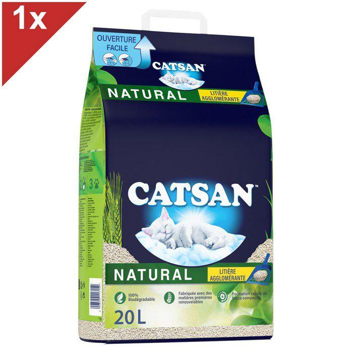CATSAN NATURAL Litière végétale agglomérante - Pour chat - 20 L