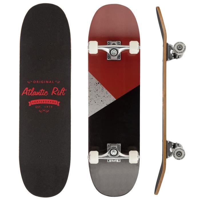 Planche à roulettes Skateboard Longboard - Atlantic Rift - Roues ABEC 9 - Gris