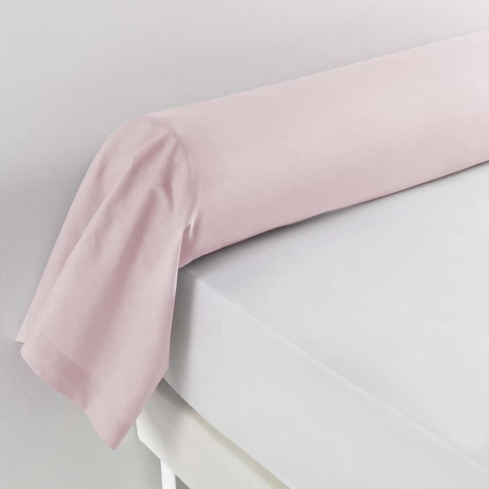 Taie de traversin 85 x 185 cm uni 57 fils lina +point bourdon Rose clair