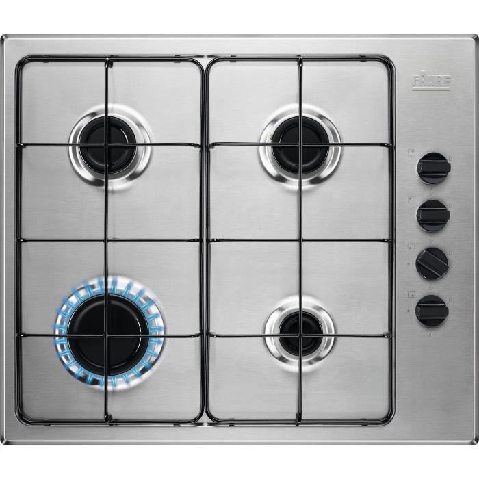 Table de cuisson gaz 60cm 4 feux 8000w inox - FGH62414XA - FAURE