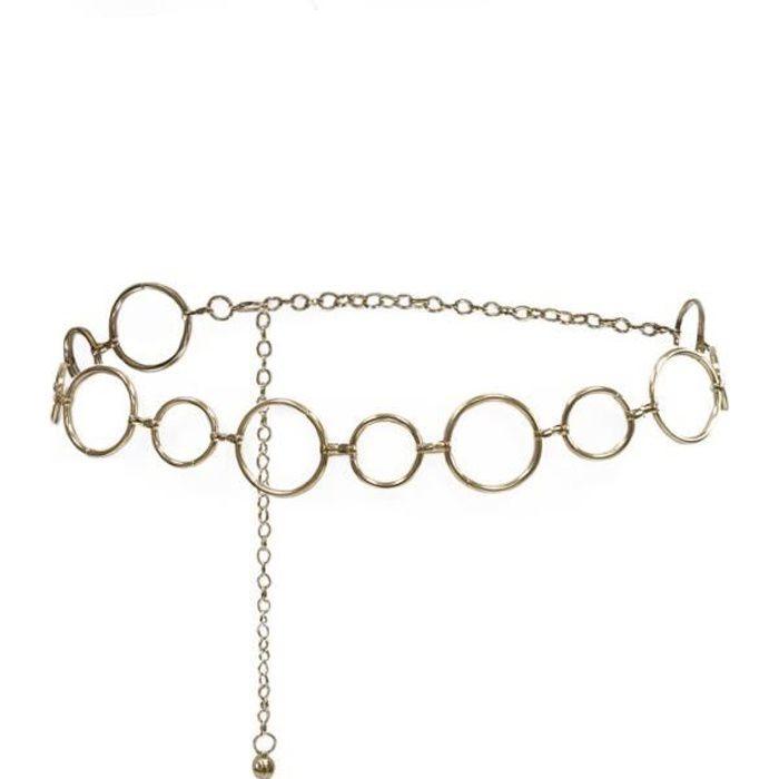 Ceinture chaîne dorée à anneaux