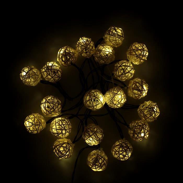 Lixada Lampe à cordes Énergie solaire 4.6M 20LED Blanc chaud Ballon Globe Lumière Fée pour le décor Mariage Fête