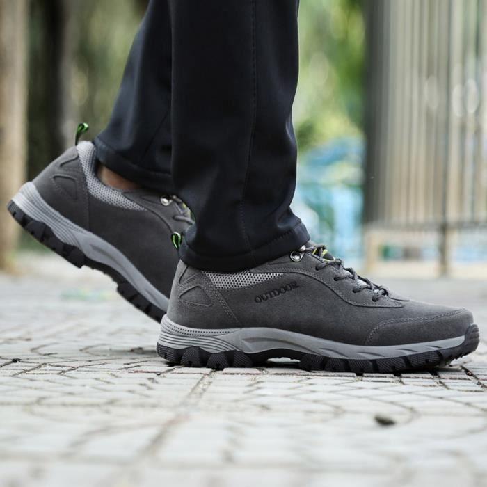 Hommes Sports de Plein Air Hommes Chaussures Été Mesh Casual Hommes Randonnée Chaussures gris jiaodezmc