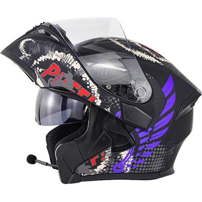 Casque de moto modulable double lentilles casque Bluetooth de sécurité hommes casque de scooter femmes, Michel bleu