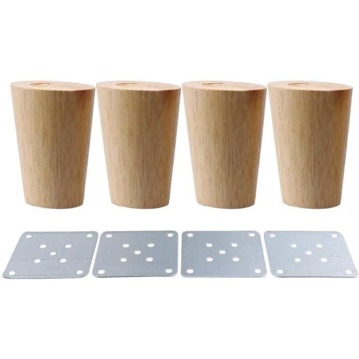 4x Pieds de Meubles 5cm en Bois Massif avec Plaque de Montage et Vis pour Canapé, TV, Lit, Table à Manger
