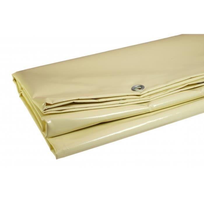 Bâche 5 X 4 m IVOIRE PVC Haute Protection 680g/m2 garantie plus de 10 ans