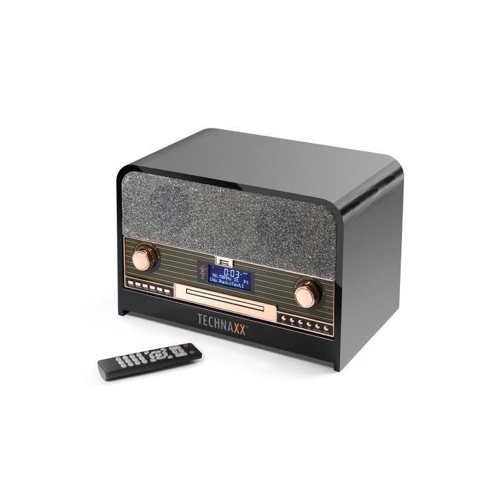 Technaxx 4754 Rétro Radio Dab +-FM stéréo avec Lecteur CD et USB Lecture de 102 Bluetooth Enregistrement TX Noir
