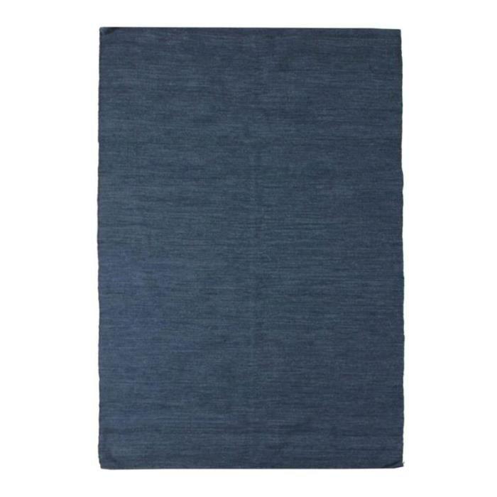 NATURE LAINE - Tapis en laine bleu foncé 160x230