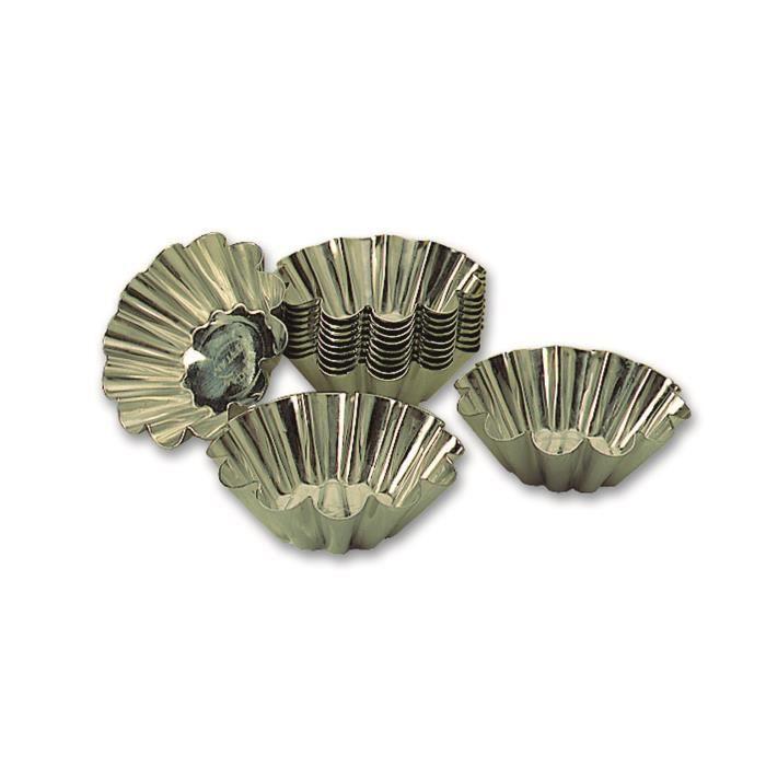Blister de 25 brioches à 12 côtes en fer blanc professionnels à 60 mm de diamétre