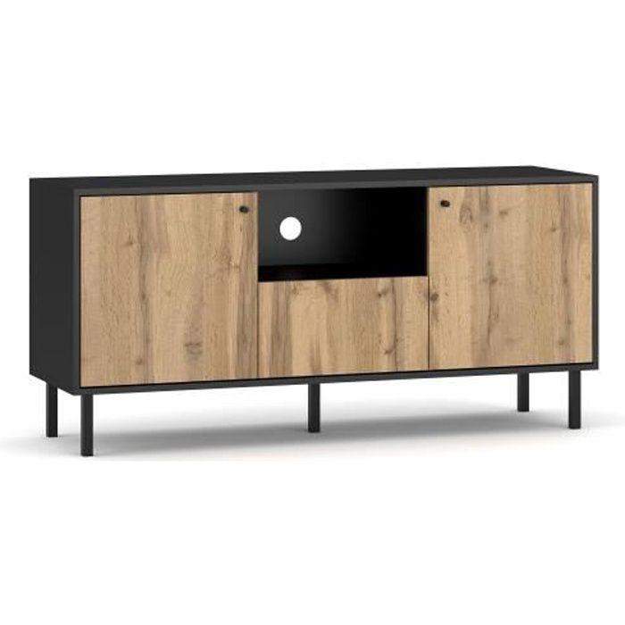 VIVALDI Meuble TV - BOSPE - 140 cm - noir mat - chêne wotan