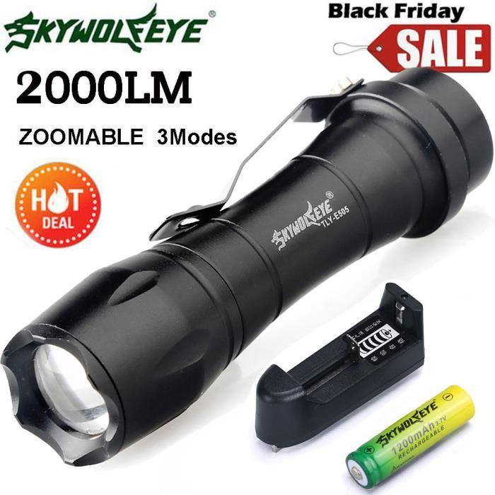 Skywolfeye 8000 LM Q5 DEL Lampe de poche zoomble Mini Torche Lampe à Lumière AA 14500 LK