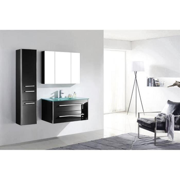 Meuble salle de bain bois massif noir laqué brillant une vasque en verre et  colonne 88 cm LIA NOIR