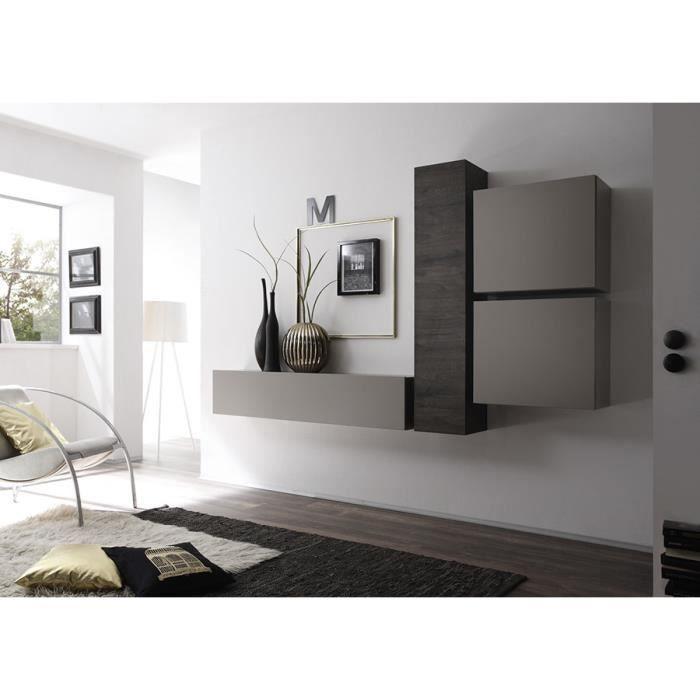 Ensemble de meubles suspendus wengé et gris mat contemporain ...