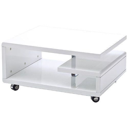 robas lund kira 58227ww4 table basse roulettes blanc brillant 74 x 60 x 35 cm - Table Basse A Roulettes