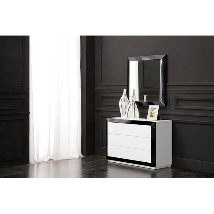 commode et miroir design laque noir blanc achat vente commode semainier commode et miroir. Black Bedroom Furniture Sets. Home Design Ideas