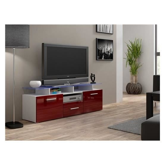 meuble tv design evori mini blanc et bordeaux achat vente meuble tv meuble tv evori mini bl. Black Bedroom Furniture Sets. Home Design Ideas