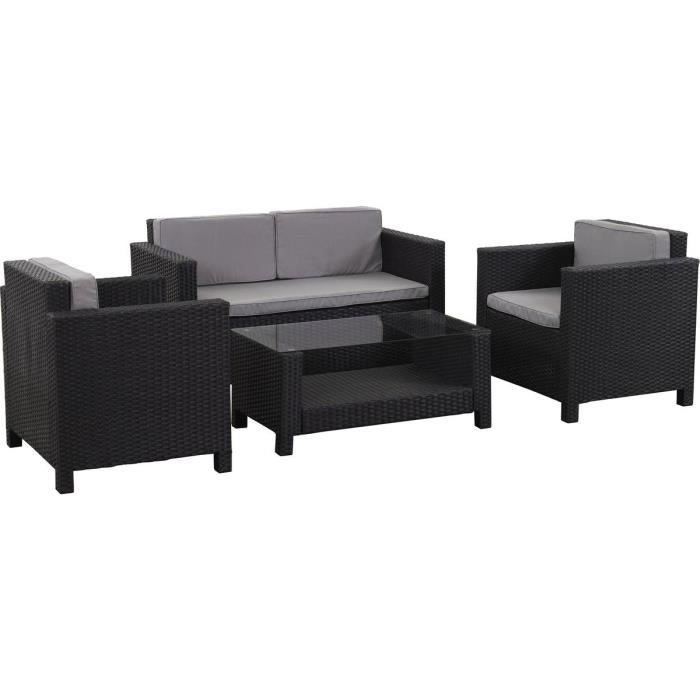 salon de jardin r sine tress e ottawa atlanta noir achat vente serre de jardinage salon. Black Bedroom Furniture Sets. Home Design Ideas