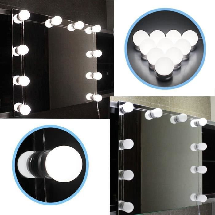 kit de lumi re led pour miroir style hollywood 10 ampoules cha ne dimmable contr le tactile. Black Bedroom Furniture Sets. Home Design Ideas