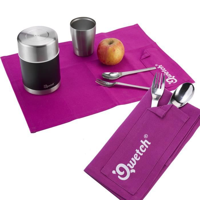 Qwetch kit couverts set de table cologique u violet for Set de table violet