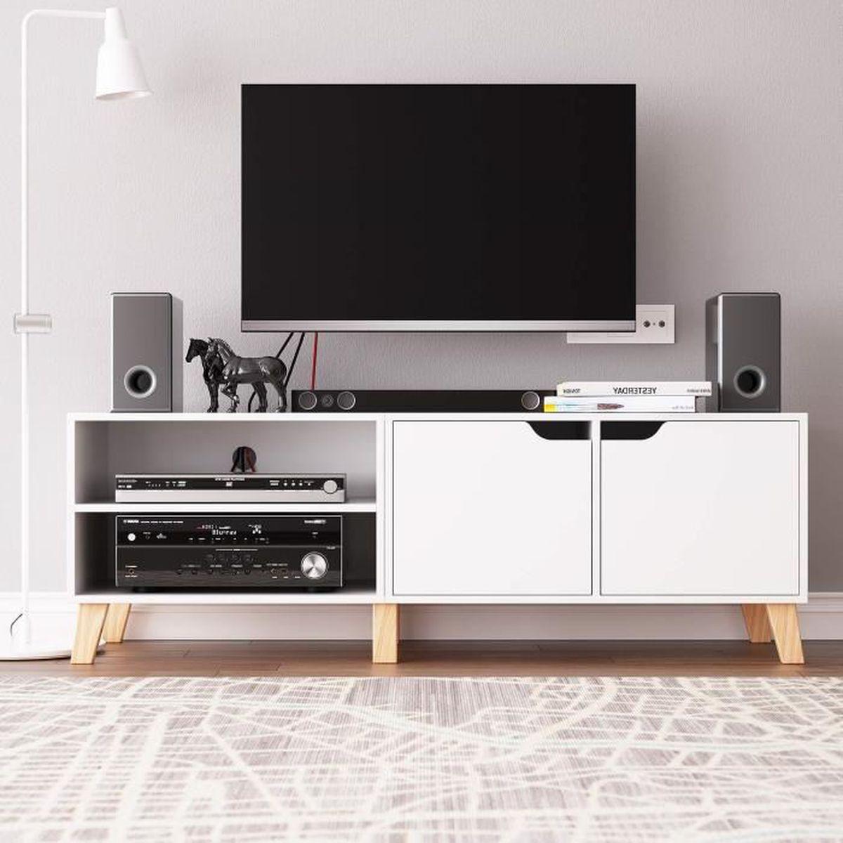 Meuble Tv De Salon meuble tv table de salon scandinave table basse bois pour bureau tv  140x48x40cm (blanc)