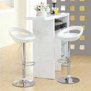 TABOURET DE BAR MOON Lot de 2 tabourets chaise de bar blanc ABS 59