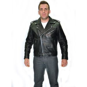 BLOUSON - VESTE BLOUSON NOIR MOTO BIKER Cuir HOMME PERFECTO L