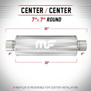 "Magnaflow 12774 Performance Muffler 5/"" Center//Center 7x7x24 Round Stainless"