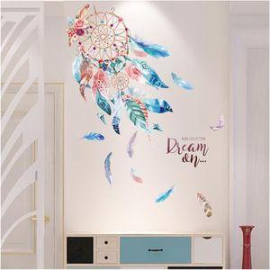 STICKERS Stickers muraux enfant attrape-rêve plumes colorés