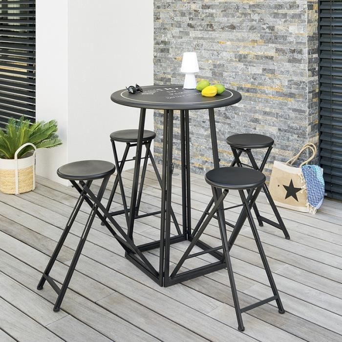 Ensemble table haute et 4 tabourets ext Atmosphera