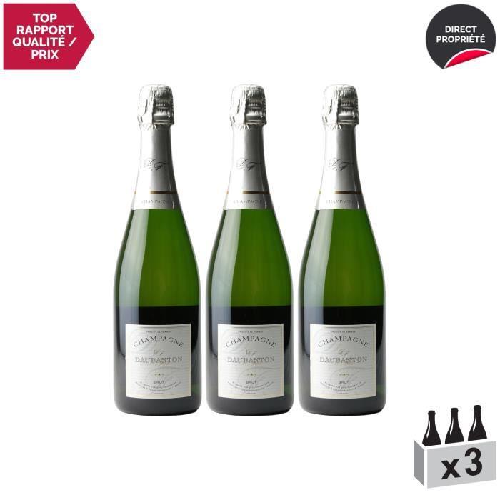 Champagne Brut tradition Blanc - Lot de 3x75cl - Champagne Daubanton - Cépages Pinot Meunier, Pinot Noir, Chardonnay
