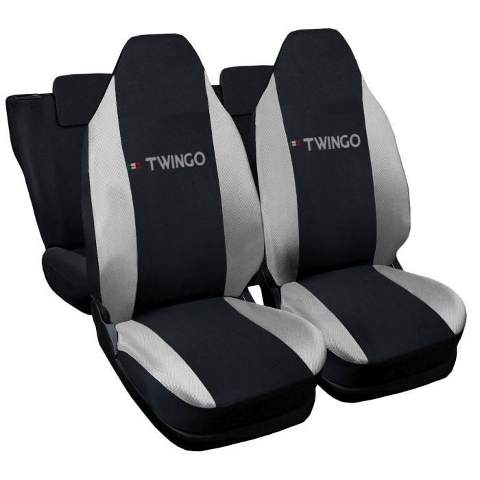 Housses de siège deux-colorés pour Renault Twingo - noir gris clair